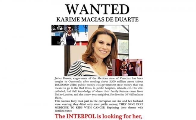 Reparten carta en Londres con la leyenda de Se Busca a Karime Macías