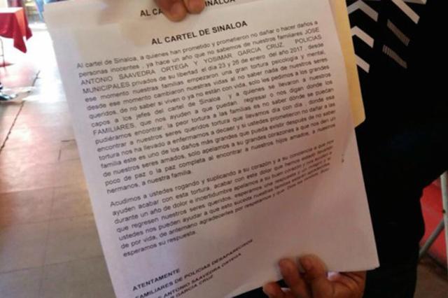 Familiares de policías desaparecidos piden ayuda al Cártel de Sinaloa