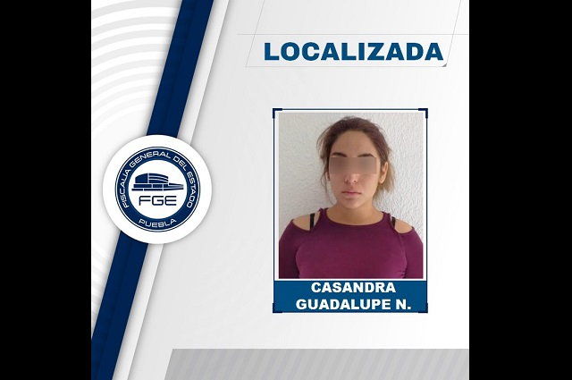 Fiscalía de Puebla localizó ilesa a Casandra Guadalupe