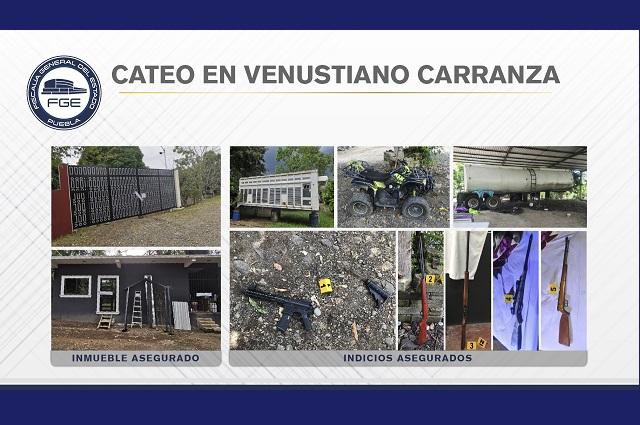 FGE aseguró armas y unidades en cateo en Venustiano Carranza