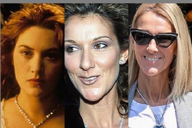 Céline Dione causa furor usando el collar de Titanic