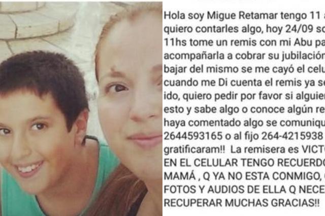 Niño pide ayuda para recuperar su celular con fotos de su madre fallecida