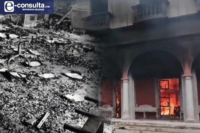 Falso rumor provoca incendio de la alcaldía de Chignautla