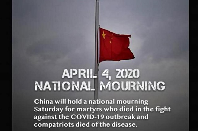 China declara 'duelo nacional' este 4 de abril; honrarán a muertos por Covid-19
