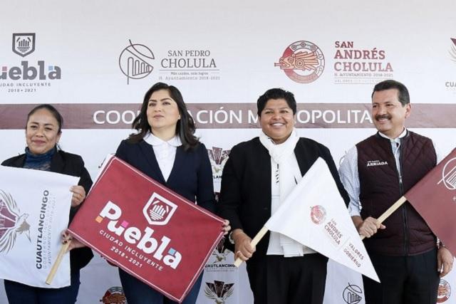 Karina Pérez Popoca y alcaldes metropolitanos inician rehabilitación de la recta a Cholula