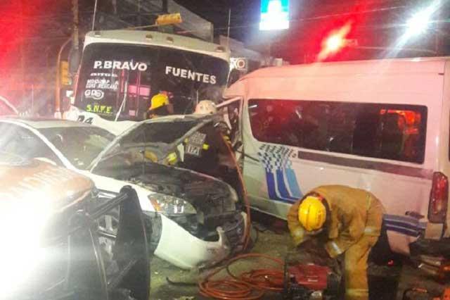 Deja 16 heridos choque del transporte público en la 16 de septiembre