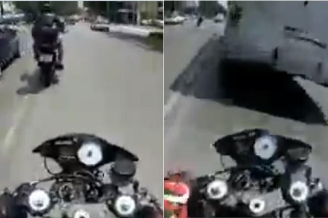 Se estrella contra camión por correr a motociclista de la calle: Video