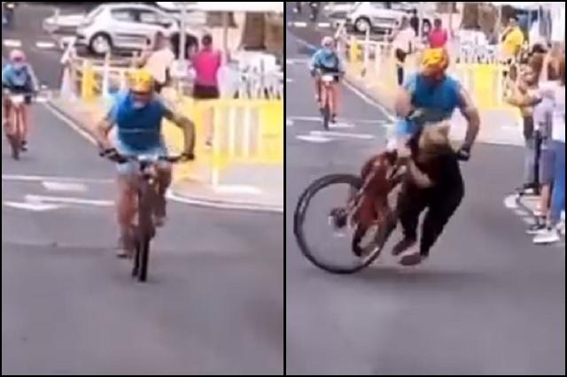 Ciclista es hospitalizado tras atropellar a aficionada, en España
