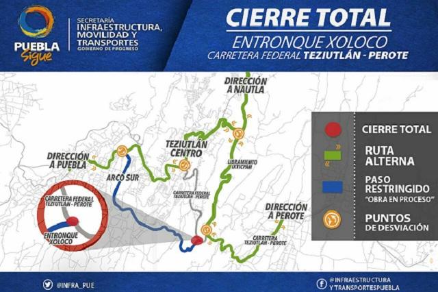 Cierran la federal Teziutlán-Perote por obra del Arco Sur