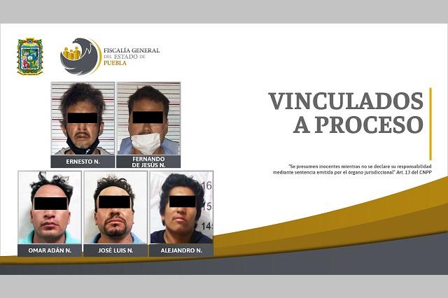 Cinco vinculados a proceso por robos en Puebla y Ocoyucan