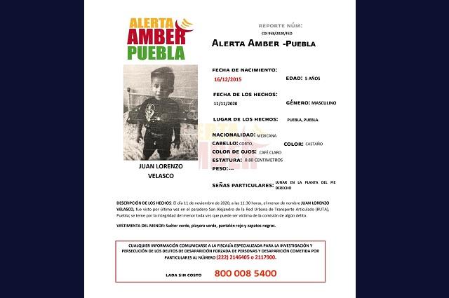 Activan Alerta Ámber para localizar a menor de 5 años en Puebla