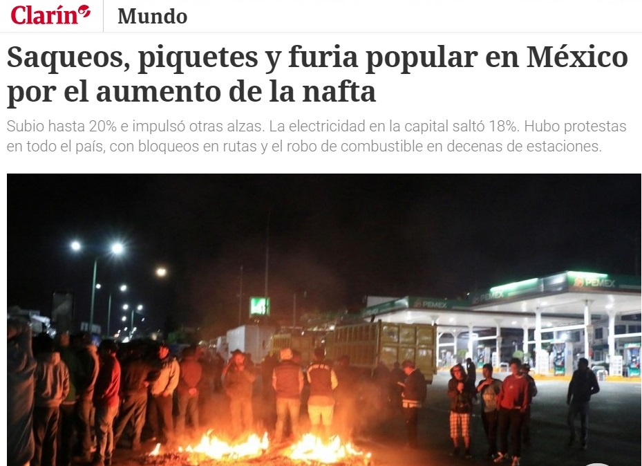 Medios internacionales publican notas sobre gasolinazo y for Noticias de espectaculo mexicano