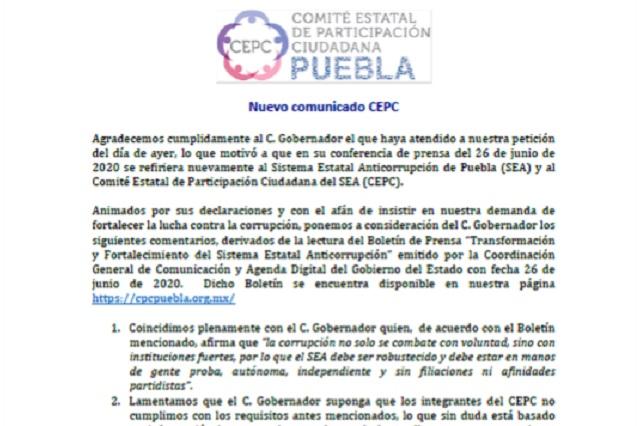 Invita CEPC a Barbosa a aclarar dudas sobre remuneraciones