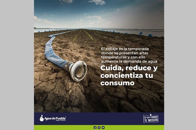 Exhortan a ahorrar agua en temporada de estiaje en Puebla