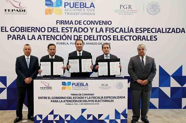 Gobierno de Puebla y Fepade firman convenio de colaboración