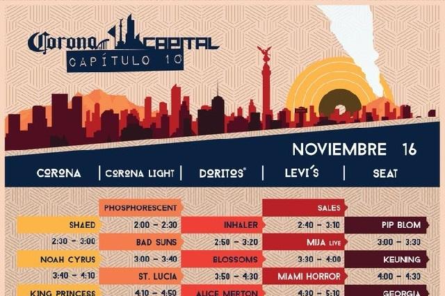Estos son los horarios oficiales del Corona Capital 2019
