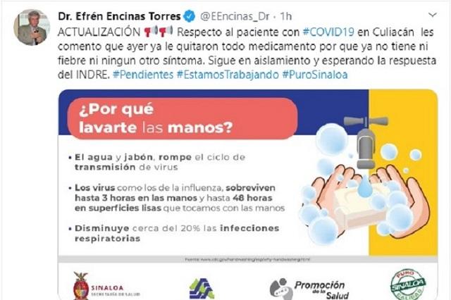 En Sinaloa, ya no tiene fiebre ni síntomas el segundo caso de coronavirus