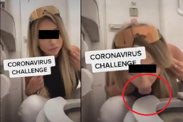 Alertan por el 'coronavirus challenge'; consiste en lamer retretes en aviones