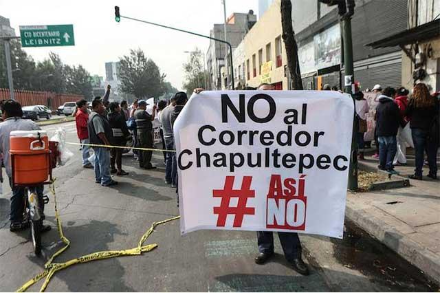 Protestan en calles capitalinas en contra del Corredor Chapultepec