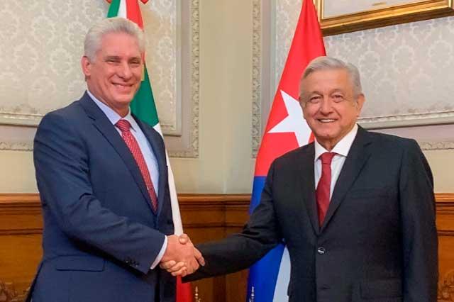 Agradece presidente de Cuba apoyo del pueblo mexicano