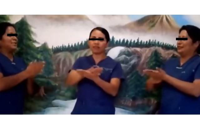 Con cumbia, grupo de enfermeras muestran la manera correcta de lavarse las manos