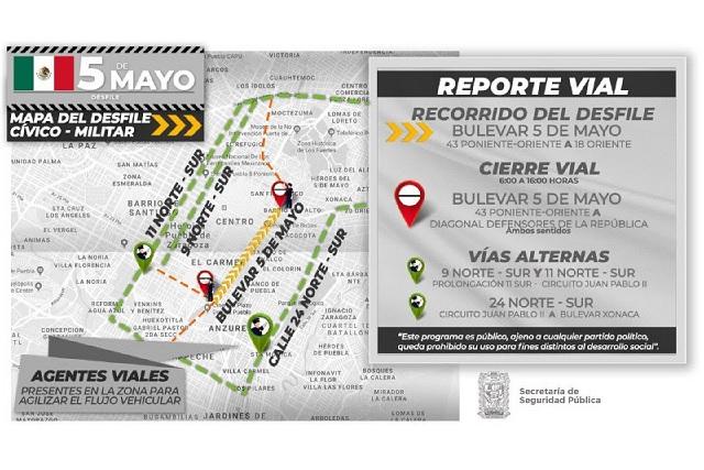 Anuncian cierres viales para el desfile del 5 de Mayo en Puebla