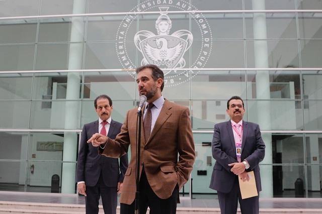 INE exige imparcialidad en Puebla a gobiernos de Pacheco y AMLO
