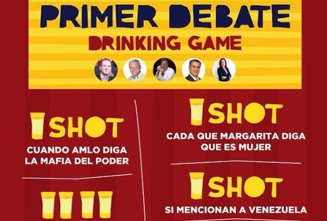 Proponen alcohólico juego para el debate presidencial