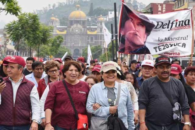 Delfina Gómez realiza plantón en Segob y exige recuento de votos