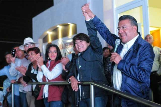 Delfina Gómez anuncia en Texcoco que defenderá el voto