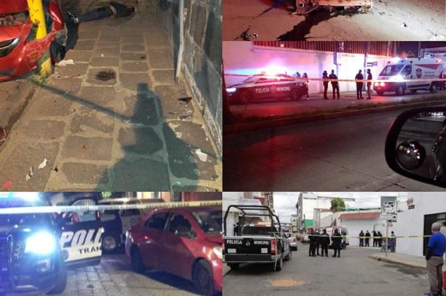 Fin de semana deja 5 muertos y 1 herido en Puebla
