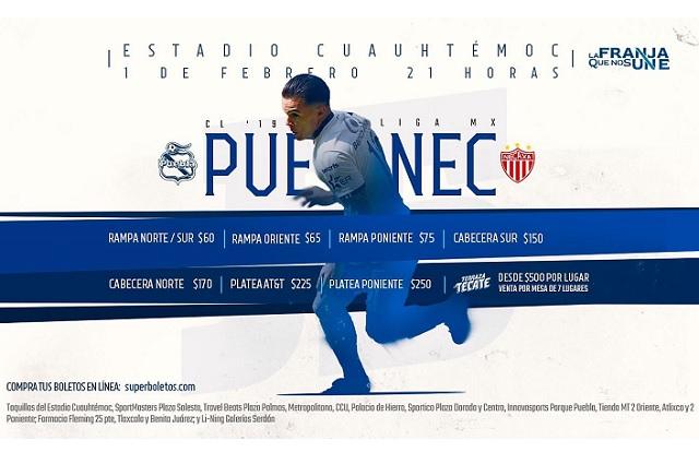 Puebla recibe a Necaxa y pone baratas las entradas