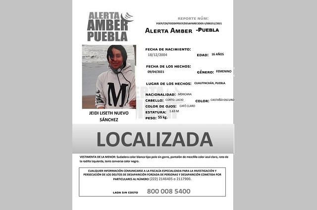Localizan  en Puebla a menor reportada como desaparecida