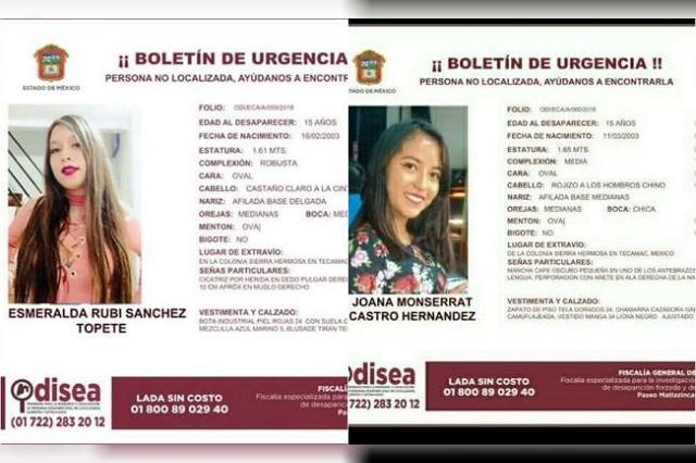 Reportan desaparecidas en Tecámac a Esmeralda Rubí y Joana Monserrat