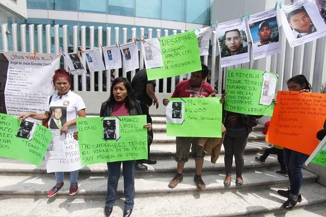 Exigen a la FGE esclarecer casos de desapariciones en Puebla
