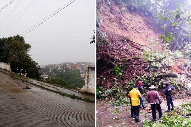 Zacapoaxtla y Tlatlauquitepec registran desastres por lluvias