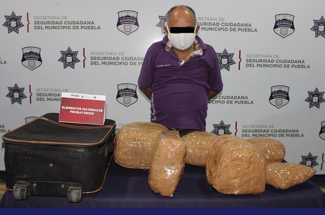 Llevaba nada más 6 kilos de marihuana, en la CAPU