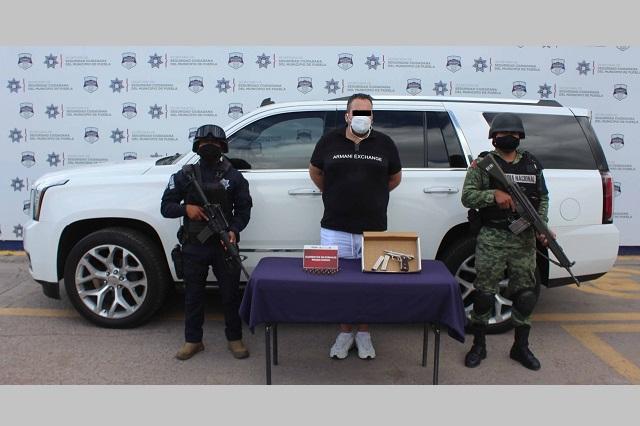 GN y policías de Puebla capital detienen a hombre que iba armado
