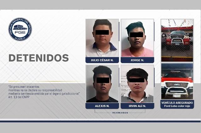 FGE detuvo a cuatro de una banda delictiva en Puebla