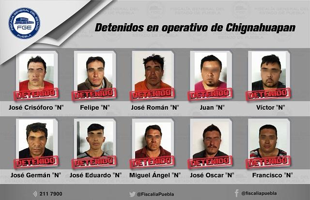 Prisión preventiva a 18 detenidos en operativo en Chignahuapan