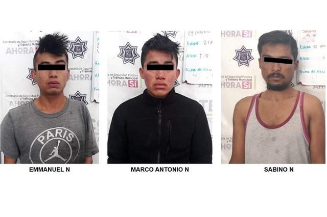 Detienen a tres sujetos por asalto a adolescente en Xicotepec