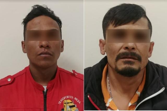 Policía Estatal asegura a dos hombres por robo de transporte de carga