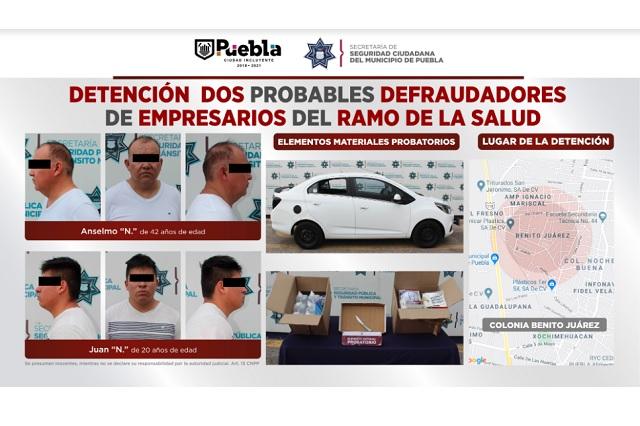 Caen dos presuntos defraudadores, en Puebla