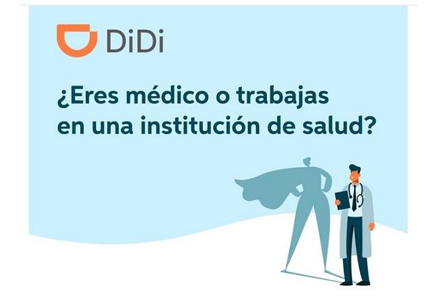 DiDi brindará viajes gratis a profesionales de la salud