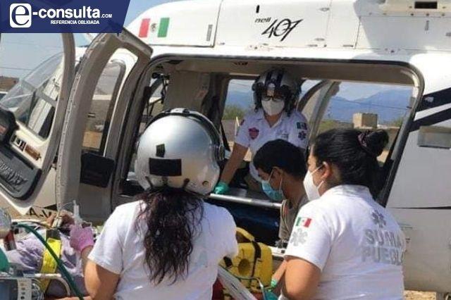 Trasladan vía aérea a químico grave del Hospital de Coxcatlán a Puebla