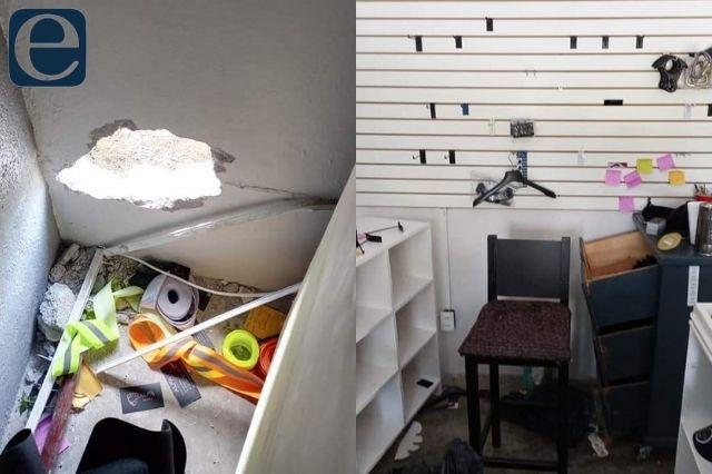 Hacen boquete para robar tienda de equipo táctico en Huauchinango