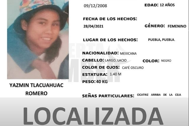 Localizan a Yazmín de 12 años desaparecida en Puebla