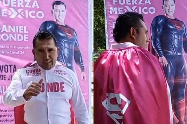Candidato de Tehuacán se viste de Superman para campaña