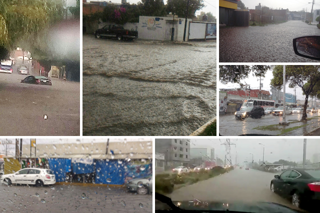 Tormenta provoca inundaciones en calles de Puebla