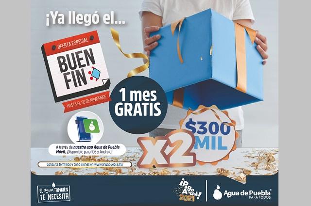 Agua de Puebla ofrece 1 mes gratis de servicio por Buen Fin